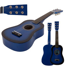 "New 23"" Plywood Acoustic Mini Guitar 6 String for Kids Beginners Practice Blue"