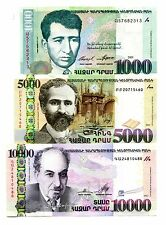 ARMENIA 1000 5000 10000 DRAM 2001-2012 P-50,56b,57 UNC SET OF 3