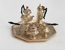 Vtg Dollhouse Miniature Artisan Pete Acquisto Sterling Silver Tea Coffee Set
