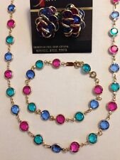 Swarovski Colorful Crystal Bezel Set Earrings,Necklace,&Bracelet Signed - LOVELY
