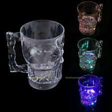 New LED Glowing Skull Shape Acrylic Wine Glass Party Pub Beer Cup Mugs