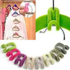 Lots 10pcs Home Creative Mini Flocking Clothes Hanger Easy Hook Closet Organizer