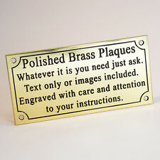 "Solid Brass Plaque 4""x2"" Engraved Polished Memorial Bench Pet Sign Free Screws"