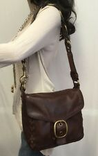 COACH Bleecker WOVEN LACED Brown LEATHER Purse Shoulder Bag 11446 Rare