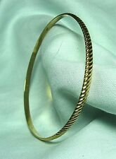 "Textured 14K Yellow Gold Bangle Bracelet 8.0 grams  1/8"" wide  lot 23v5"