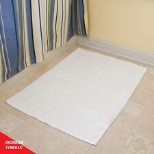 12 NEW WHITE COTTON HOTEL BATH MATS 6.50#dz 20X30 ECONOMY GRADE GA TOWELS BRAND