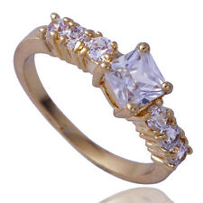 Womens Yellow Gold Filled Square Clear Cubic Zirconia Jewelry Ring Size 8