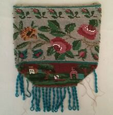 Vintage Micro Beaded Tapestry Purse Floral Design Unfinished