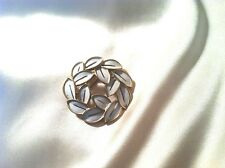 Crown Trifari White & Gold Tone Leaf Wreath Vintage Pin Brooch