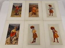 H.M. Pollock 1904 6 Lithograph Prints 3 Cowgirls & 3 Women Miners Original Mats