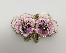Vintage Early Coro Rhinestone & Enamel Flower Pansy Pin Brooch