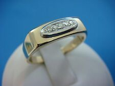 14K YELLOW GOLD MEN'S PLAIN RING WITH SMALL DIAMONDS, 4.4 GRAMS, SIZE 9.25