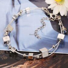Femmes Tendance En Argent Sterling 925 Bouton De Manchette Charm Bracelet Chaîne