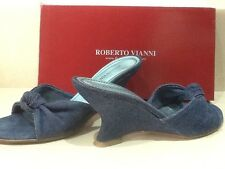 Roberto Vianni  slip on denim fabric mules.  Size 5/38. Exc cond. boxed