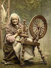 """oil painting handpainted on canvas"""" an old woman and a spinning wheel """"@N2290"""