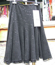 Joseph Ribkoff BNWT UK 10 Gorgeous Black Skirt Crochet Lace Hem +Shimmer Sparkle