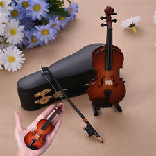 Mini Violin Miniature Wooden Musical Instruments Collection Decor with Support