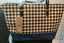 Kenneth Cole Reaction Tote Bag BLACK & WHITE CHECKER BOARD BLUE NWT