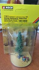 NOCH 11911 HO Scale Green Lighted Christmas Tree Figures on Bench NEW $0 Ship