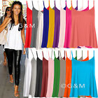Cami Swing Plain Vest Top Casual Strappy Sleeveless T-Shirt Blouse Plus Size
