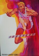 1972 MUNICH OLYMPICS HURDLES 20x30 poster DICK HOYT art RARE (Not Schlitz)