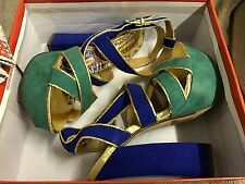 Women's Bongo Green and Blue Sandals High Heel Platform Pumps Ankle Strap Size 6