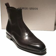 NEW Giorgio Armani Captoe Brown Leather Dress Men's Ankle Boots 8 41 Casual 7.5