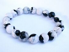 ELASTICATED WHITE BLACK Men's 10mm FIRE CRACKLE AGATE streachable bracelet