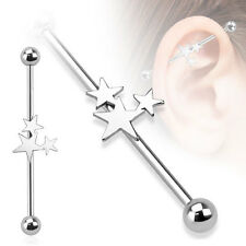316L Surgical Steel Triple Star Ear Cartilage Industrial Barbell Piercing 14 GA