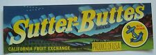 Sutter Buttes Old Fruit or Grapes Crate Label Yuba City CA