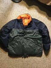 Nautica Vintage VTG Reversible Navy Orange Gray Hooded Puffer Down Jacket Mens M