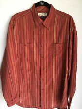 Men's Tommy Bahama L/S Dress Shirt, Silk/Cotton Blend Rust/Rose/Green Stripe, XL