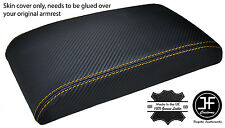 YELLOW STITCH FITS ALFA ROMEO 147 ARMREST LID COVER CARBON FIBER VINYL