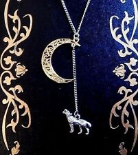 HOWLING WOLF NECKLACE silver gold-tone crescent moon werewolf coyote pendant C5