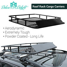 Universal Coated Steel Roof Rack Luggage Basket Cargo Combo Fit Lights 4x4  Vans