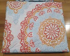 Cynthia Rowley Coral Orange Blue Medallion 3pc KING DUVET Cover SHAMS Set