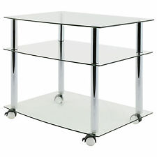 HARTLEYS CLEAR GLASS TV AV UNIT/SHELF/STAND PROJECTOR TROLLEY MOBILE SIDE TABLE