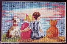 SUNSET Cross Stitch Pattern~Children*Boy*Girl*Dog*Teddy Bear*Ocean*Marie Barber