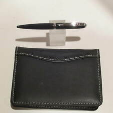 HAMPTON /LEEDS BLACK LEATHER POCKET JOTTER NOTEPAD+PEN