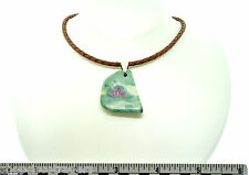 Ruby Fuschite ARTISAN Pendant Necklace Leather Cord SS Lobster Clasp A014-10