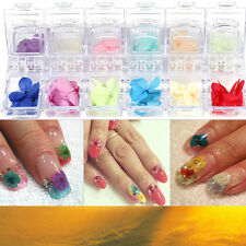 12Pcs 3D Nail Art Sticker Real Dried Flower DIY Tips Manicure Acrylic Decoration