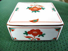 "TIFFANY & CO. 3.5"" SQUARE PORCELAIN / CHINA HAND PAINTED TRINKET VANITY BOX"