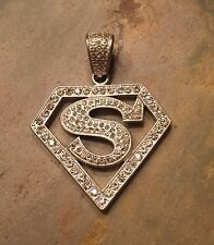 "LARGE 2.125"" Superman 925 STERLING SILVER Pendant Bling Diamante Oversized Bail"