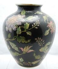 "9"" FLORAL BLACK VASE MADE IN MACAU"