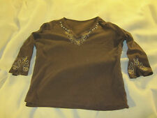 Women's V Neck with stitched designs Blouse 3/4 Sleeves Brown Top Shirt ~ 1049