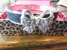 Betsey Johnson Sparkle HOLLYWOOD GLAM Bow Hinged Bangle Bracelet $78 with Box