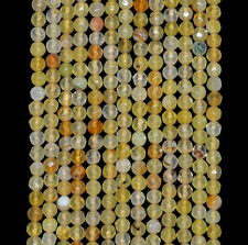 4MM  AGATE GEMSTONE LIGHT YELLOW FACETED ROUND LOOSE BEADS 15""
