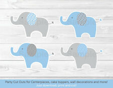 Blue & Gray Polka Dot Elephant Party Cutouts Decorations Printable