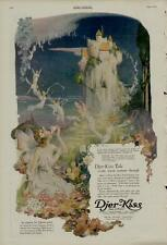 1920 DJER KISS AD / FAIRIES -CASTLE- FLOWERS SCENE - RARE - ARTISTS: C.F. NEAGLE