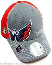 Washington Capitals NHL Reebok Center Ice Hat Cap Gray Red Flex Fitted L/XL Fit